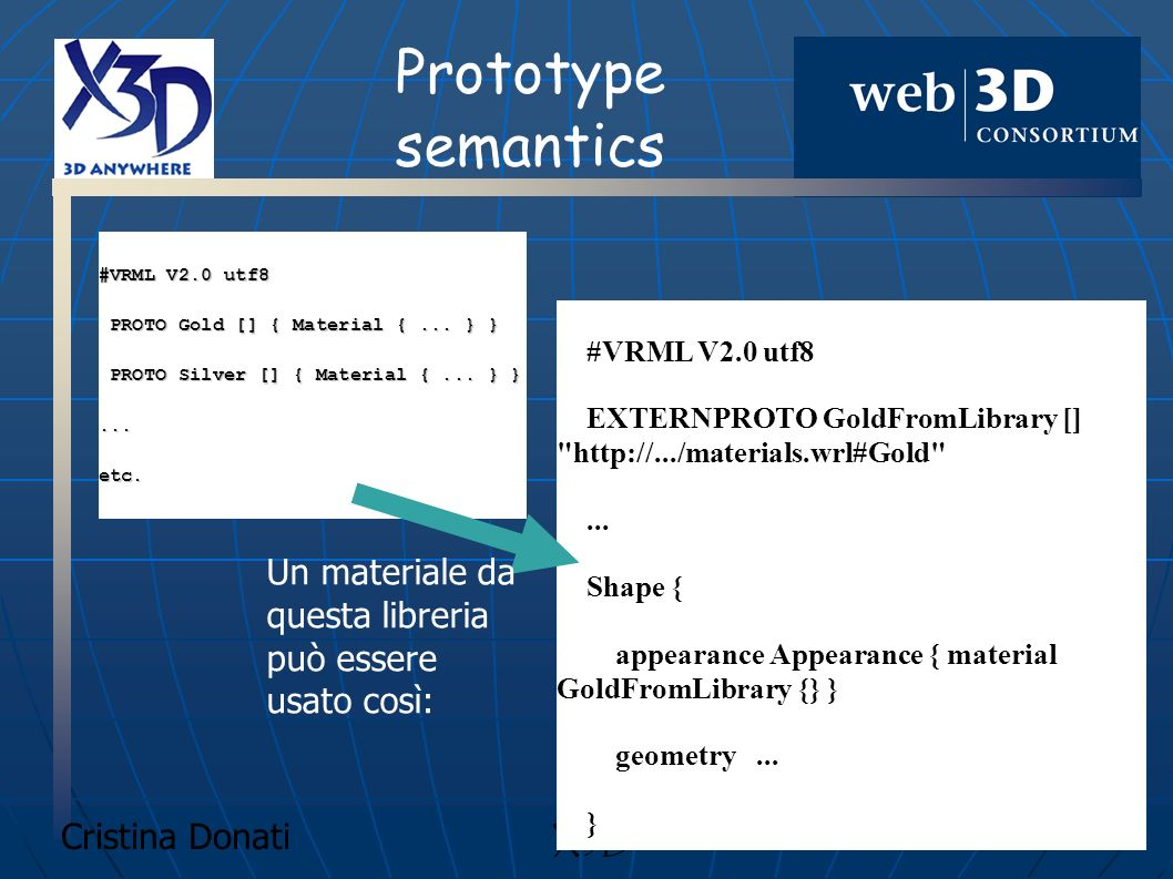 Prototype semantics #VRML V2.0 utf8. PROTO Gold [] { Material { ... } } PROTO Silver [] { Material { ... } }